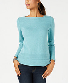 Karen Scott Petite Cotton Ottoman-Stitch Sweater, Created for Macy's