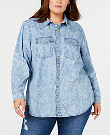 Lucky Brand Trendy Plus Size Cotton Western Shirt