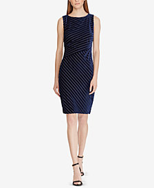 Lauren Ralph Lauren Striped Velvet Sheath Dress