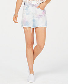 Hudson Jeans The Viper Cotton Tie-Dye Denim Skirt