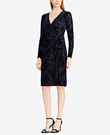 Lauren Ralph Lauren Flocked Velvet Wrap Dress