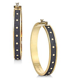 kate spade new york Gold-Tone Studded Faux Leather Hoop Earrings