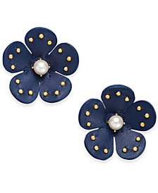 kate spade new york Gold-Tone Leather Flower Stud Earrings