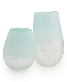 Waterscape Set of 2 Clear, Frosted Seafoam Vases