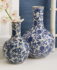 Blue and White Set of 2 Lotus Flower Straight Collar Vase
