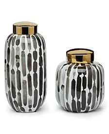 Brush Strokes Covered Jars, Set of 2