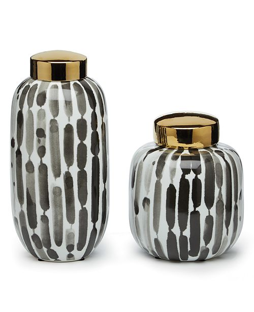 Two's Company Brush Strokes Covered Jars, Set of 2