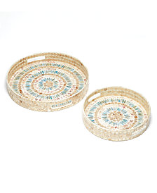 Palawan Flower Set of 2 Mother of Pearl Mosaic Lacquered Round Decorative Trays