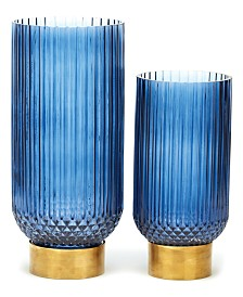 Two's Company Sullivan Blue Ribbed Candle Holder, Vases - Set of 2