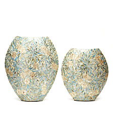 Palawan Flower Set of 2 Decorative Mother of Pearl Lacquered Vases