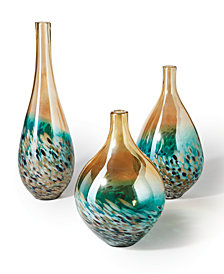 Sunset Set of 3 Lustrous Turquoise and Amber Teardrop Vases