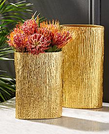 Golden Set of 2 Textured Tree Decorative Vases