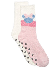 Planet Sox 2-Pk. Minnie Mouse Mauv-E-Lous Plush Socks