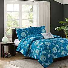 Jaipur Teal 5-Piece Quilt Set, Full/Queen