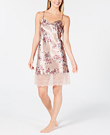 Thalia Sodi Printed Lace-Trim Chemise, Created for Macy's