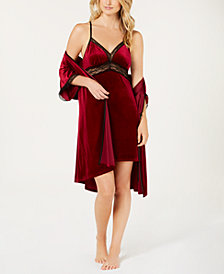 Linea Donatella Sets To Go Velvet Chemise & Wrap Robe
