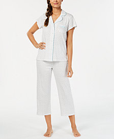Miss Elaine Printed Notch-Collar Top & Capri Pants Pajama Set