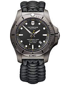 Victorinox Swiss Army Men's Swiss I.N.O.X. Professional Diver Black Paracord Strap Watch 45mm