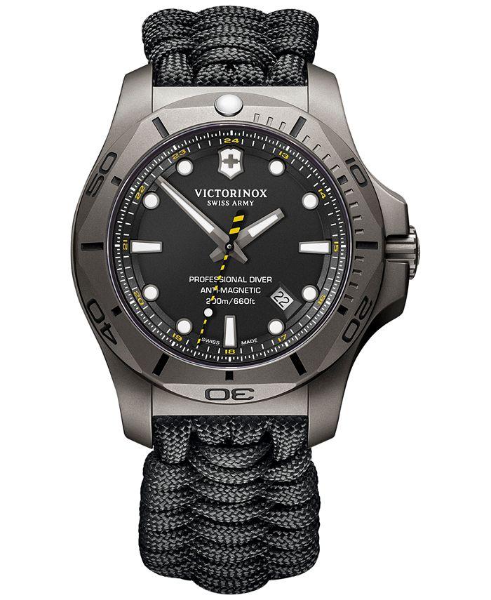 Victorinox Swiss Army - Men's Swiss I.N.O.X. Professional Diver Black Paracord Strap Watch 45mm