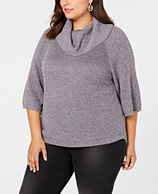 Belldini Plus Size Metallic Cowl-Neck Sweater