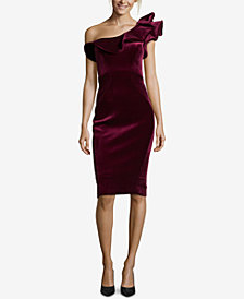 Betsy & Adam Ruffled Velvet One-Shoulder Dress