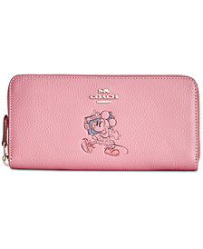 COACH Minnie Motif Boxed Slim Accordion Zip Wallet in Pebble Leather, Created for Macy's