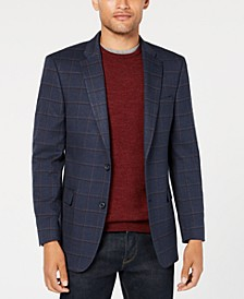 Men's Modern-Fit THFlex Stretch Navy/Burgundy Windowpane Sport Coat