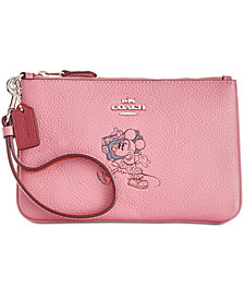COACH Minnie Mouse Motif Boxed Wristlet in Pebble Leather, Created for Macys