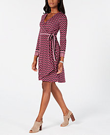 Tommy Hilfiger Geometric-Print Wrap Dress, Created for Macy's