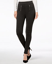 I.N.C. Zippered Menswear-Print Leggings, Created for Macy's