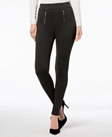 I.N.C. Shaping Zippered Menswear-Print Leggings, Created for Macy's