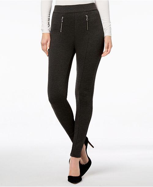 INC International Concepts I.N.C. Shaping Zippered Menswear-Print Leggings, Created for Macy's