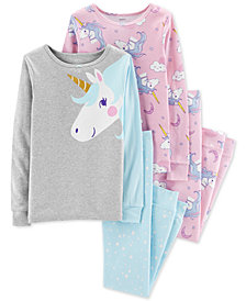 Carter's Big Girls 4-Pc. Unicorn Snug-Fit Cotton Pajama Set