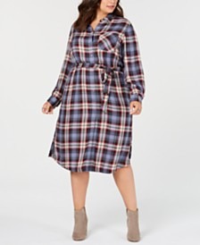 Seven7 Jeans Trendy Plus Size Plaid Shirtdress