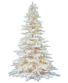 Vickerman 4.5' Flocked White Spruce Artificial Christmas Tree with 250 Frosted Warm White LED Lights