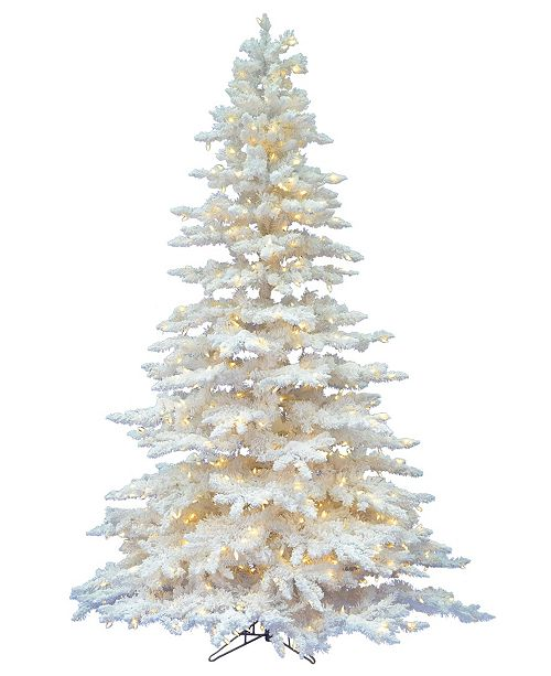 Vickerman 4.5\' Flocked White Spruce Artificial Christmas Tree with ...