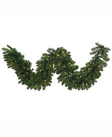 "9' x 18"" Grand Teton Artificial Christmas Garland with 100 Warm White LED Lights"