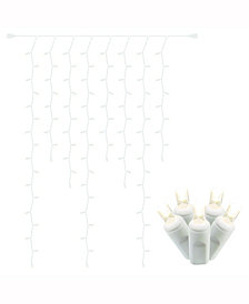 100 Warm White Wide Angle LED Curtain Icicle Light on White Wire, 6' Christmas Light Strand