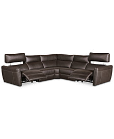 Fanna 5-Pc. Leather Sectional with 2 Power Recliners and Articulating Headrest, Created for Macy's