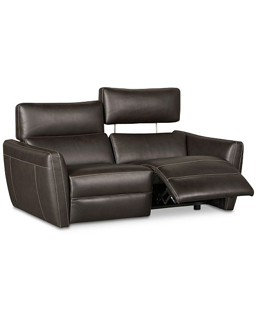 CLOSEOUT! Fanna 68 2-Pc. Leather Sofa Sectional with 2 Power Recliners and  Articulating Headrest, Created for Macy\'s
