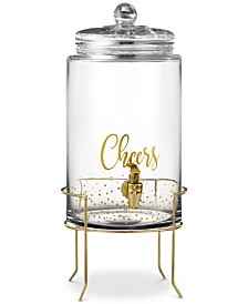Jay Imports Cheers Gold Dots Beverage Dispenser with Gold-Tone Stand
