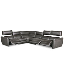 Fanna 6-Pc. Leather Sectional with 3 Power Recliners and Articulating Headrest, Created for Macy's