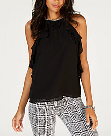MICHAEL Michael Kors Ruffled Chain-Hardware Top