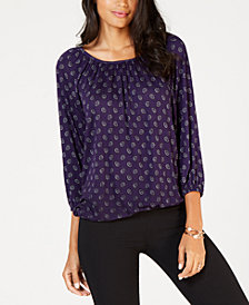 MICHAEL Michael Kors Scattered FoulardPeasant Top, In Regular & Petites