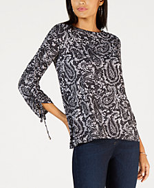 MICHAEL Michael Kors Grand Pais Ruched Sleeve Top, In Regular & Petites