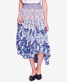Free People Roaming Wild Smocked Asymmetrical Midi Skirt