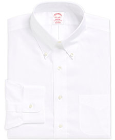 Brooks Brothers Men's Madison Classic/Regular Fit Non-Iron Supima Solid Pinpoint Light Blue Dress Shirt