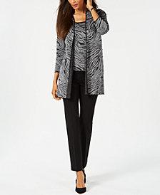 Kasper Zebra-Print Jacket, Knit Shell & Bootcut Pants
