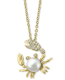 "EFFY® Cultured Freshwater Pearl (6mm) & Diamond (1/10 ct. t.w.) Crab 18"" Pendant Necklace in 14k Gold"