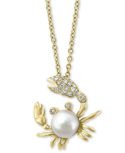 """EFFY Collection EFFY® Cultured Freshwater Pearl (6mm) & Diamond (1/10 ct. t.w.) Crab 18"""" Pendant Necklace in 14k Gold"""